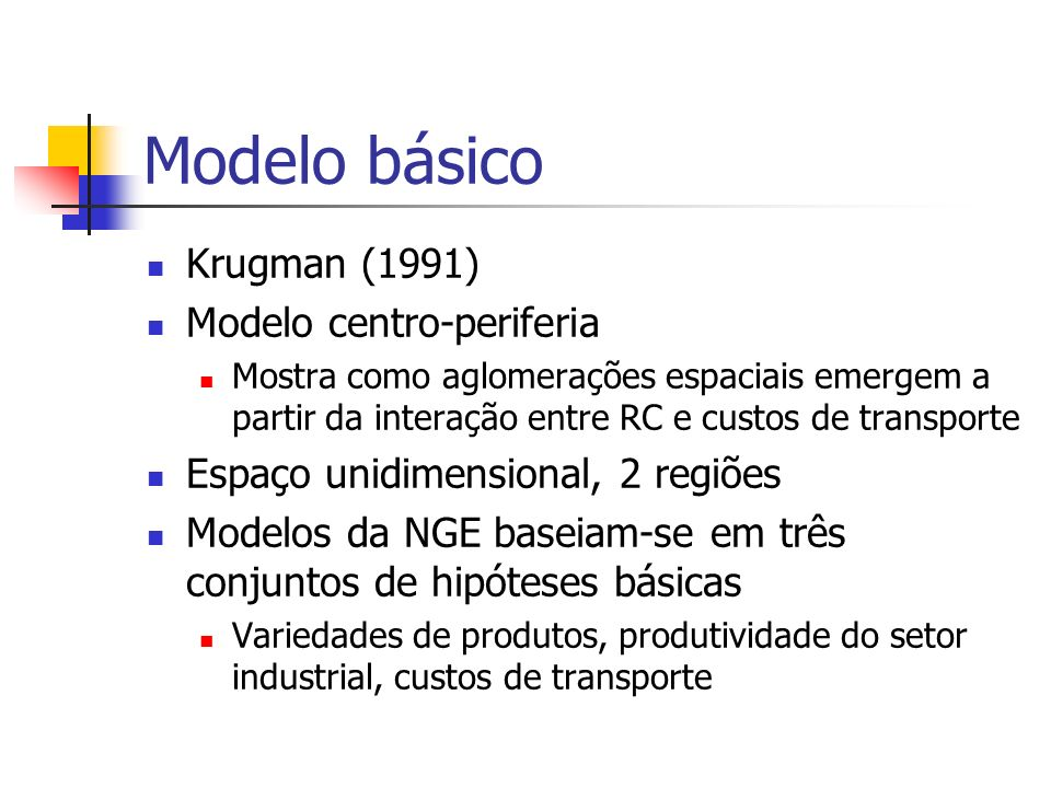 Modelo básico Krugman (1991) Modelo centro-periferia