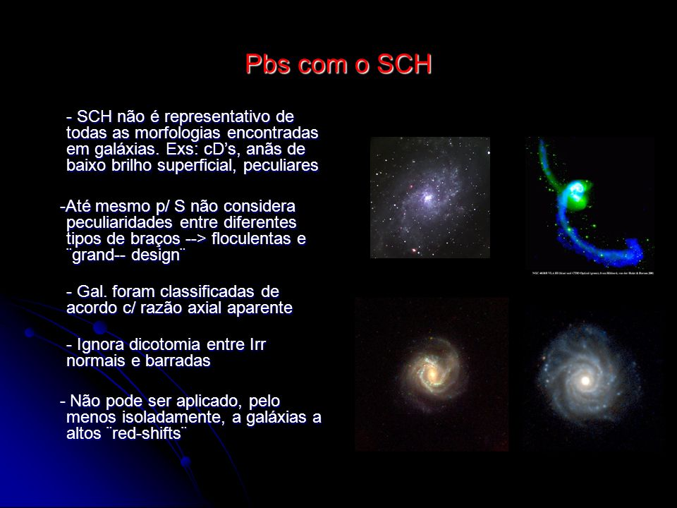 Pbs com o SCH- SCH não é representativo de todas as morfologias encontradas em galáxias. Exs: cD's, anãs de baixo brilho superficial, peculiares.