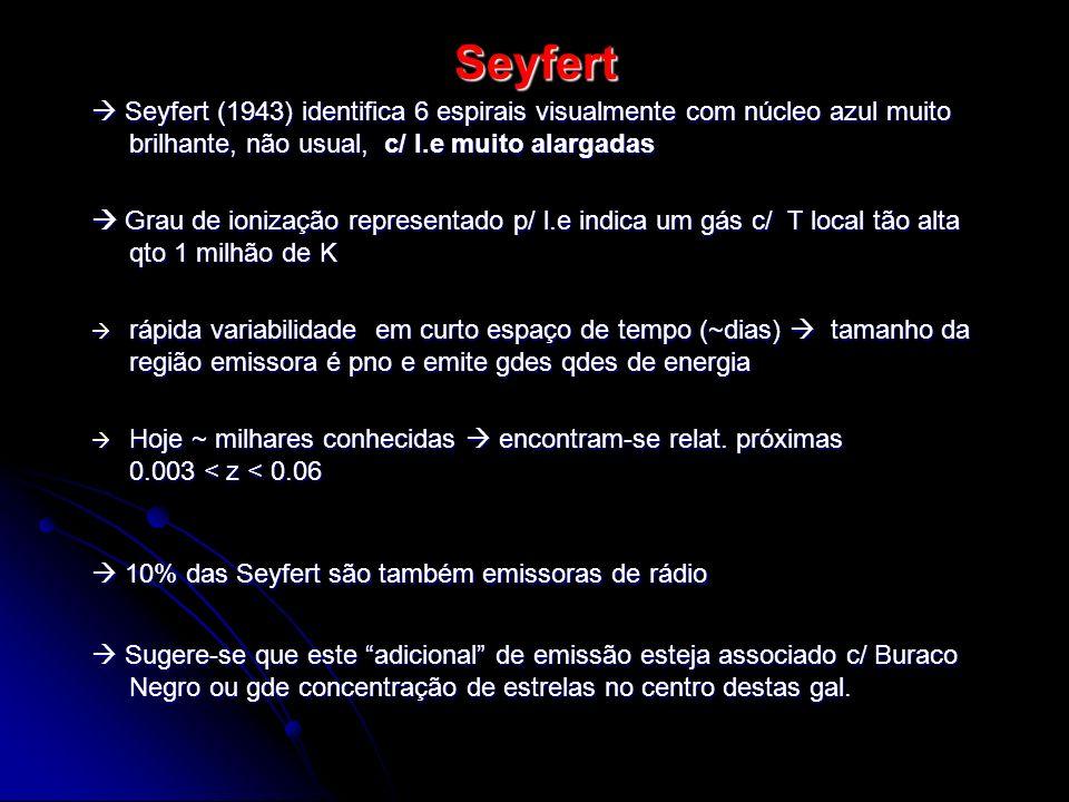 Seyfert  Seyfert (1943) identifica 6 espirais visualmente com núcleo azul muito brilhante, não usual, c/ l.e muito alargadas.