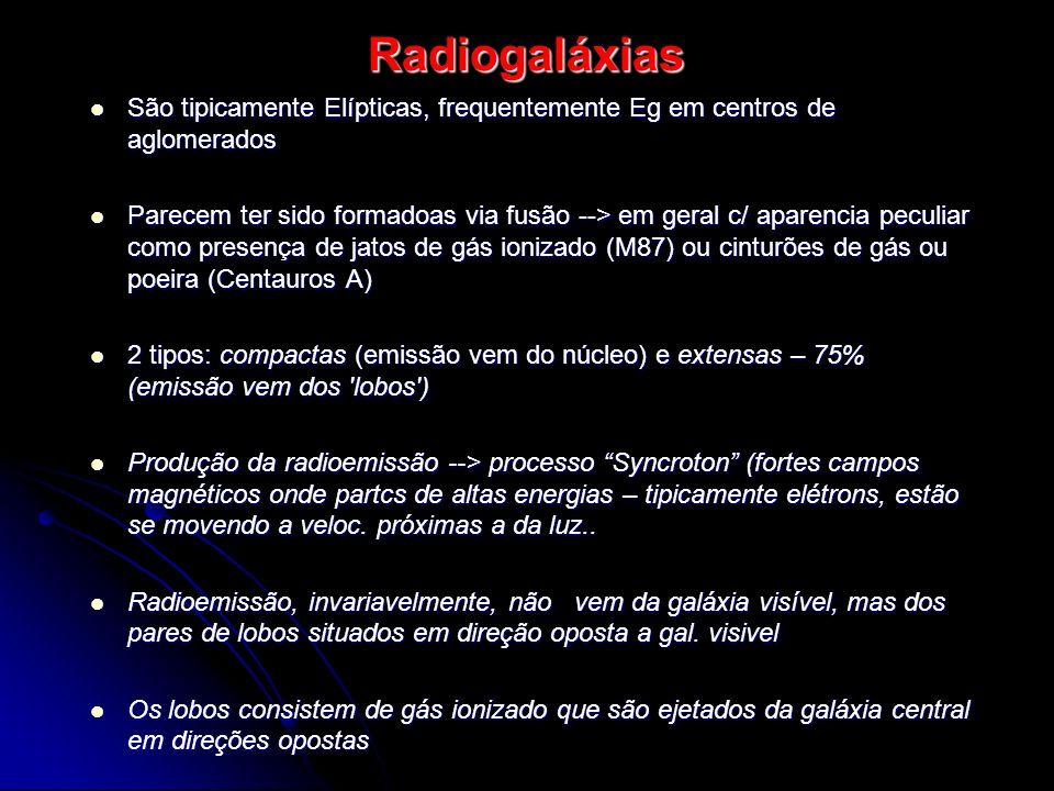 Radiogaláxias São tipicamente Elípticas, frequentemente Eg em centros de aglomerados.