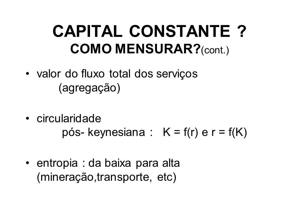 CAPITAL CONSTANTE COMO MENSURAR (cont.)