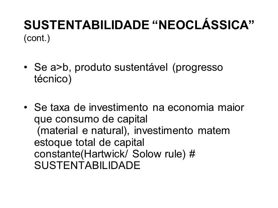 SUSTENTABILIDADE NEOCLÁSSICA (cont.)