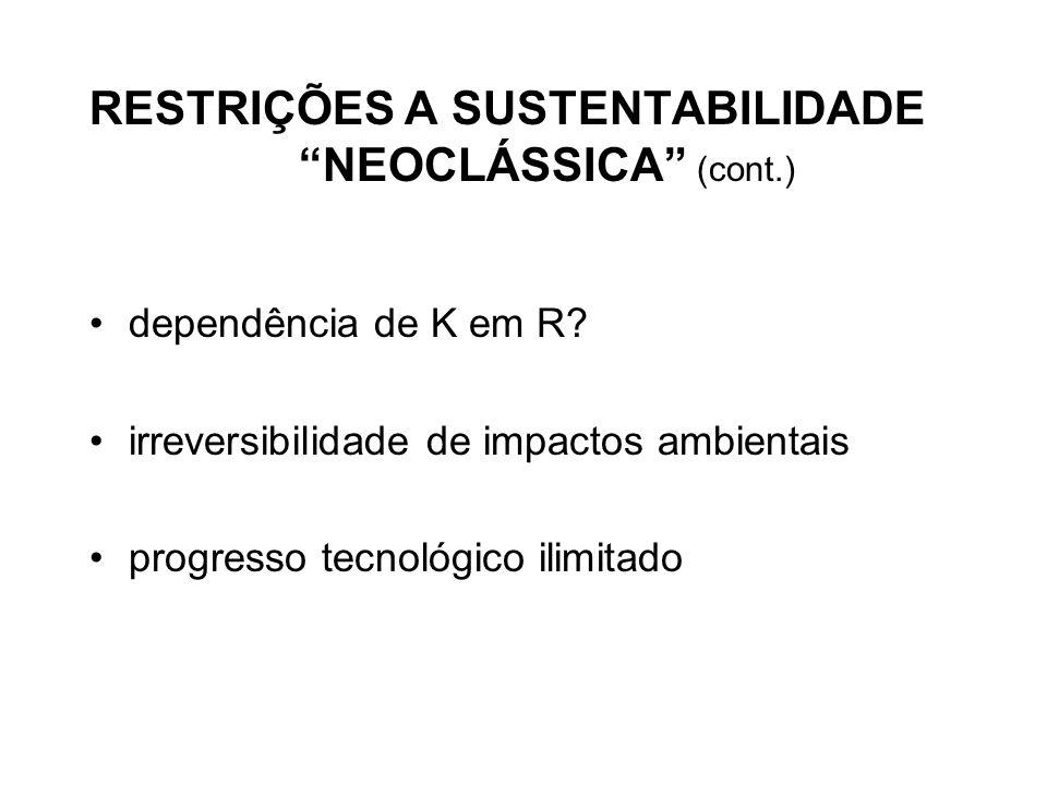 RESTRIÇÕES A SUSTENTABILIDADE NEOCLÁSSICA (cont.)