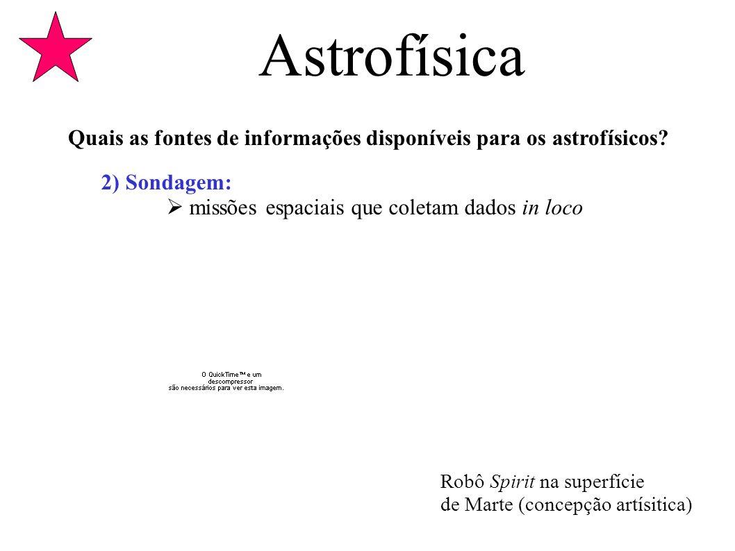 Astrofísica Quais as fontes de informações disponíveis para os astrofísicos 2) Sondagem:  missões espaciais que coletam dados in loco.