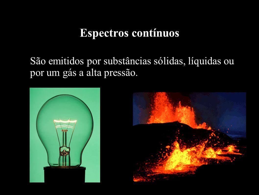 Espectros contínuos São emitidos por substâncias sólidas, líquidas ou por um gás a alta pressão.