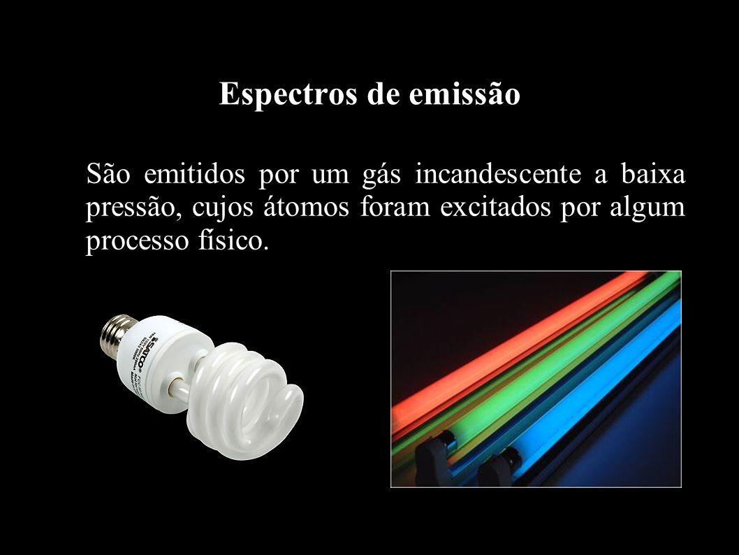 Espectros de emissãoSão emitidos por um gás incandescente a baixa pressão, cujos átomos foram excitados por algum processo físico.