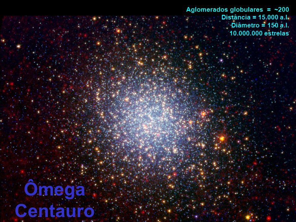 Ômega Centauro Aglomerados globulares = ~200 Distância = 15.000 a.l.