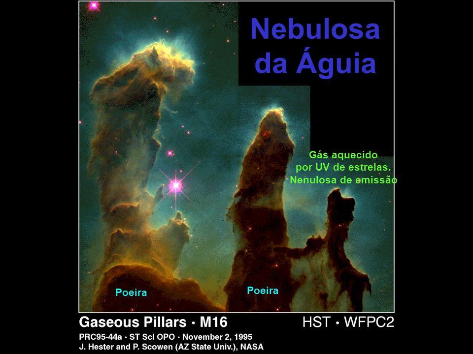 Nebulosa da Águia Gás aquecido por UV de estrelas. Nenulosa de emissão