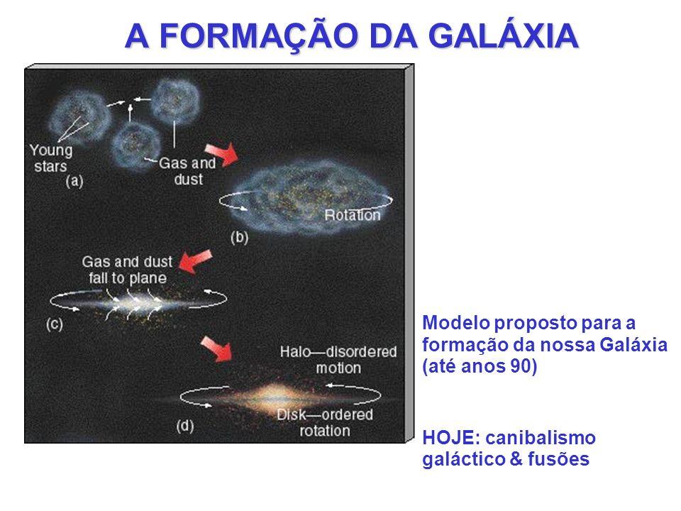 A FORMAÇÃO DA GALÁXIA Modelo proposto para a formação da nossa Galáxia (até anos 90) HOJE: canibalismo galáctico & fusões.