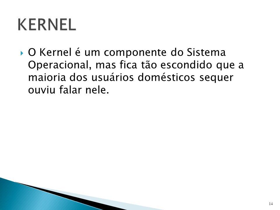 KERNEL O Kernel é um componente do Sistema Operacional, mas fica tão escondido que a maioria dos usuários domésticos sequer ouviu falar nele.