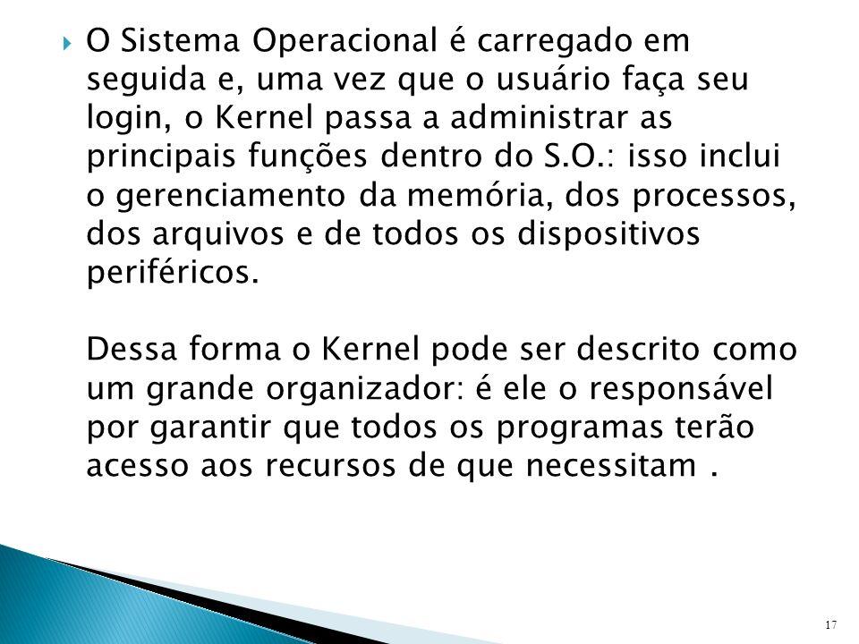 O Sistema Operacional é carregado em seguida e, uma vez que o usuário faça seu login, o Kernel passa a administrar as principais funções dentro do S.O.: isso inclui o gerenciamento da memória, dos processos, dos arquivos e de todos os dispositivos periféricos.
