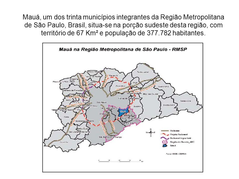 Mauá, um dos trinta municípios integrantes da Região Metropolitana de São Paulo, Brasil, situa-se na porção sudeste desta região, com território de 67 Km² e população de 377.782 habitantes.