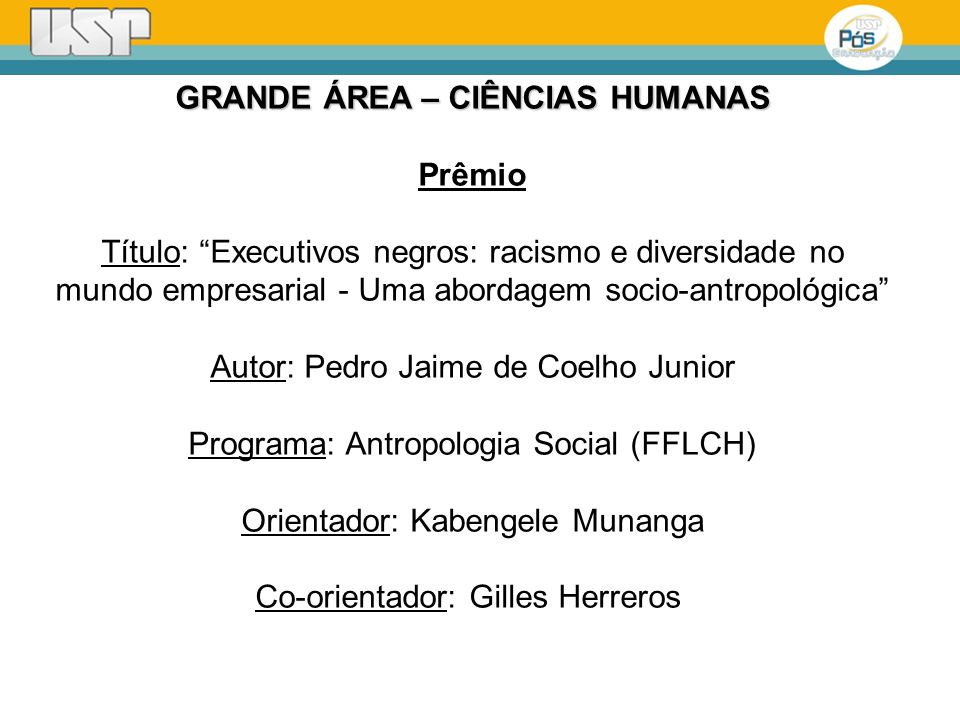 GRANDE ÁREA – CIÊNCIAS HUMANAS Prêmio