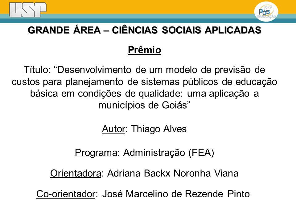 GRANDE ÁREA – CIÊNCIAS SOCIAIS APLICADAS Prêmio