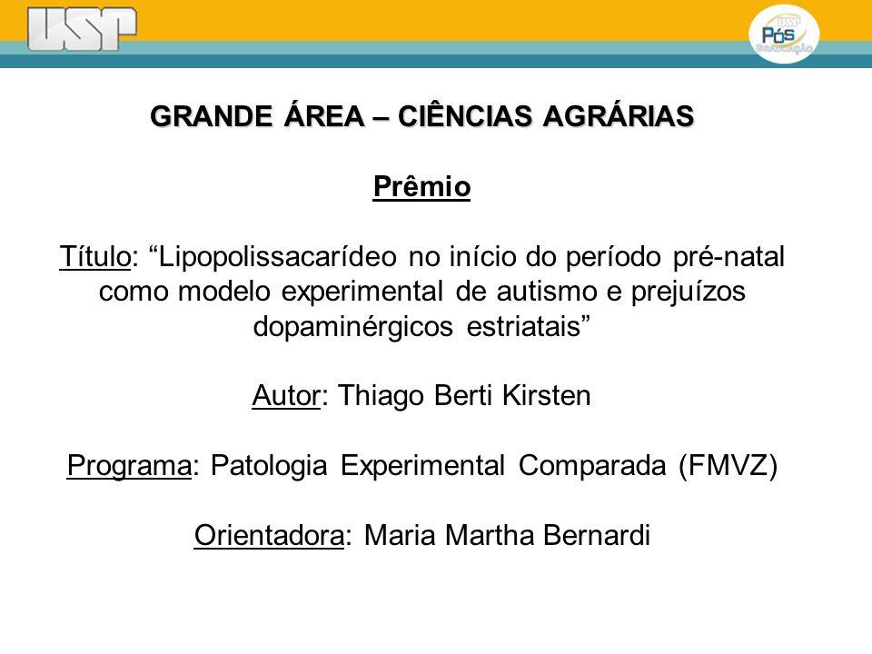 GRANDE ÁREA – CIÊNCIAS AGRÁRIAS Prêmio