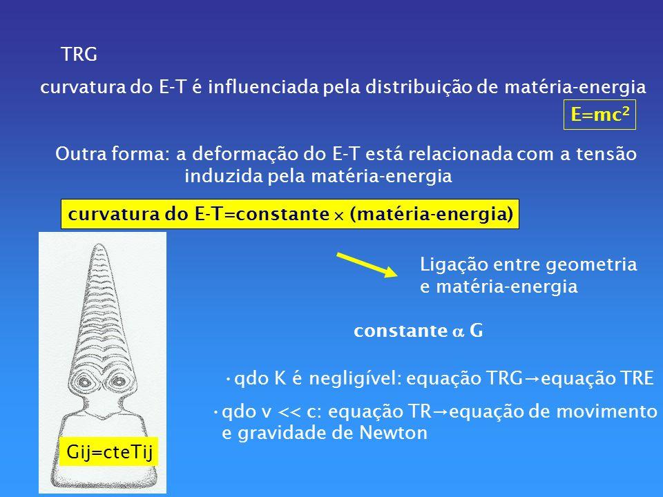 TRG curvatura do E-T é influenciada pela distribuição de matéria-energia. E=mc2. Outra forma: a deformação do E-T está relacionada com a tensão.