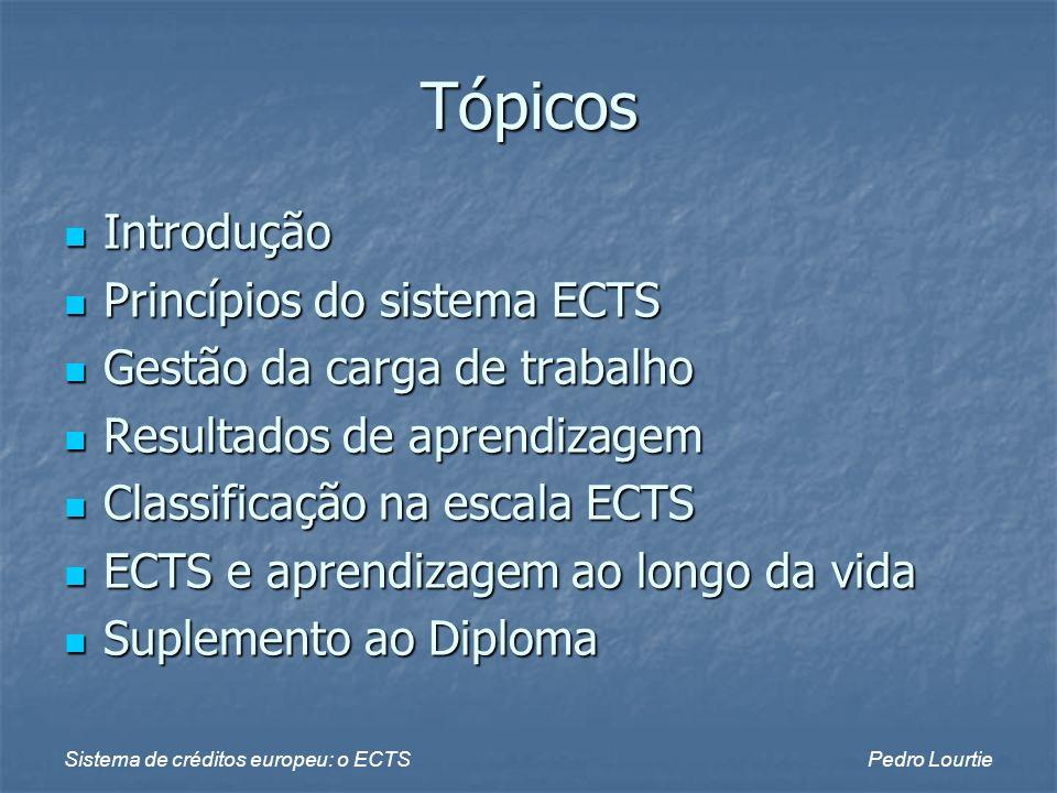 Tópicos Introdução Princípios do sistema ECTS