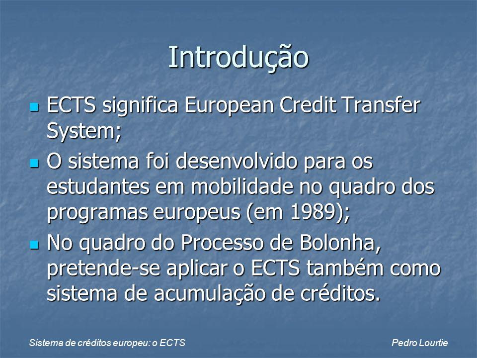 Introdução ECTS significa European Credit Transfer System;