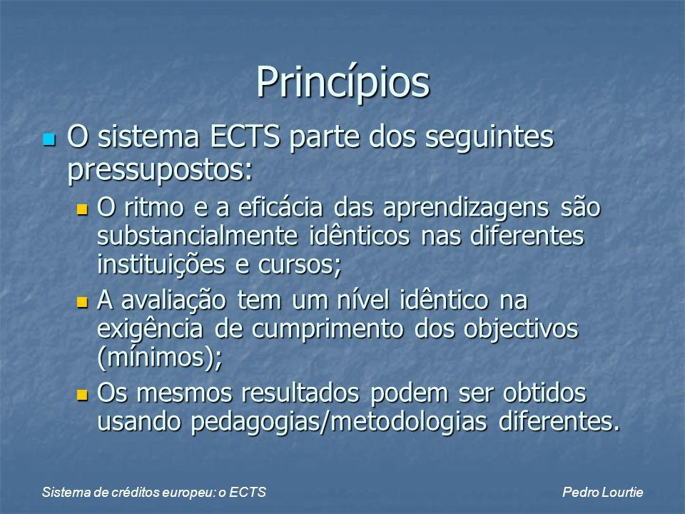 Princípios O sistema ECTS parte dos seguintes pressupostos: