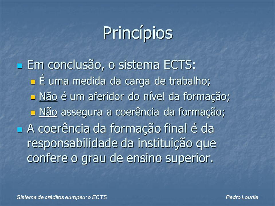 Princípios Em conclusão, o sistema ECTS: