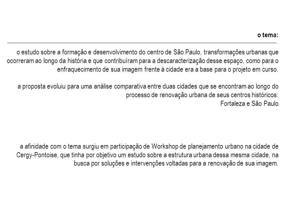 o tema: o estudo sobre a formação e desenvolvimento do centro de São Paulo, transformações urbanas que ocorreram ao longo da história e que contribuíram para a descaracterização desse espaço, como para o enfraquecimento de sua imagem frente à cidade era a base para o projeto em curso.