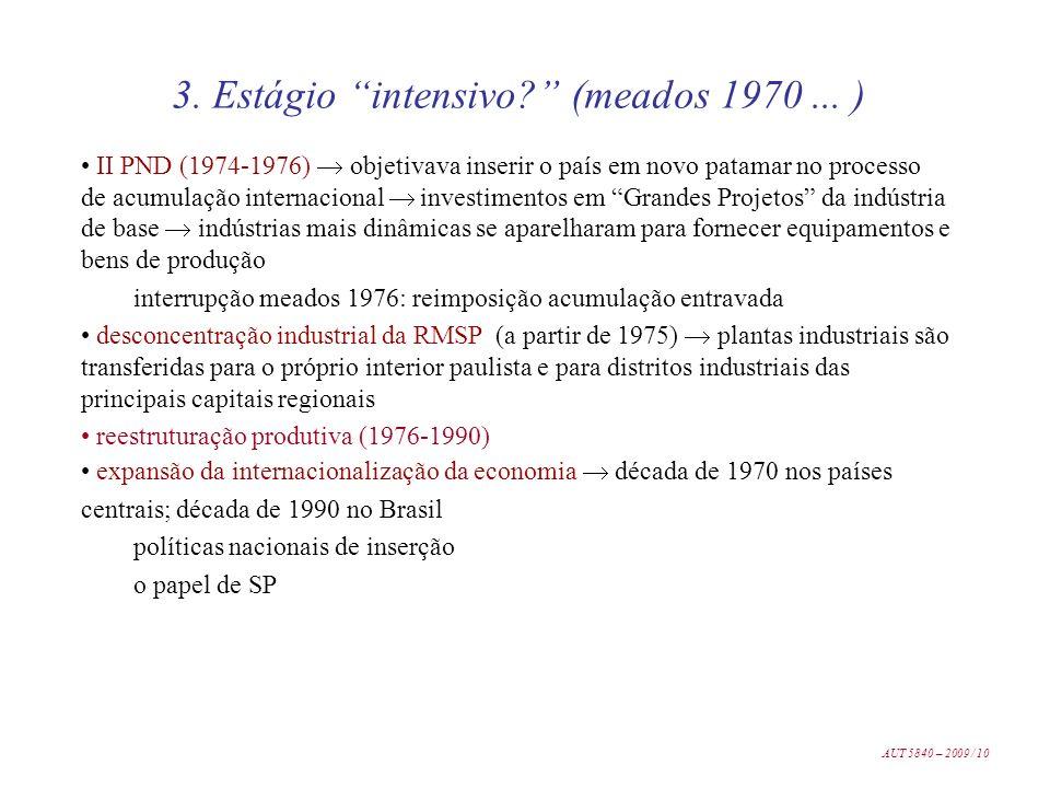 3. Estágio intensivo (meados 1970 ... )