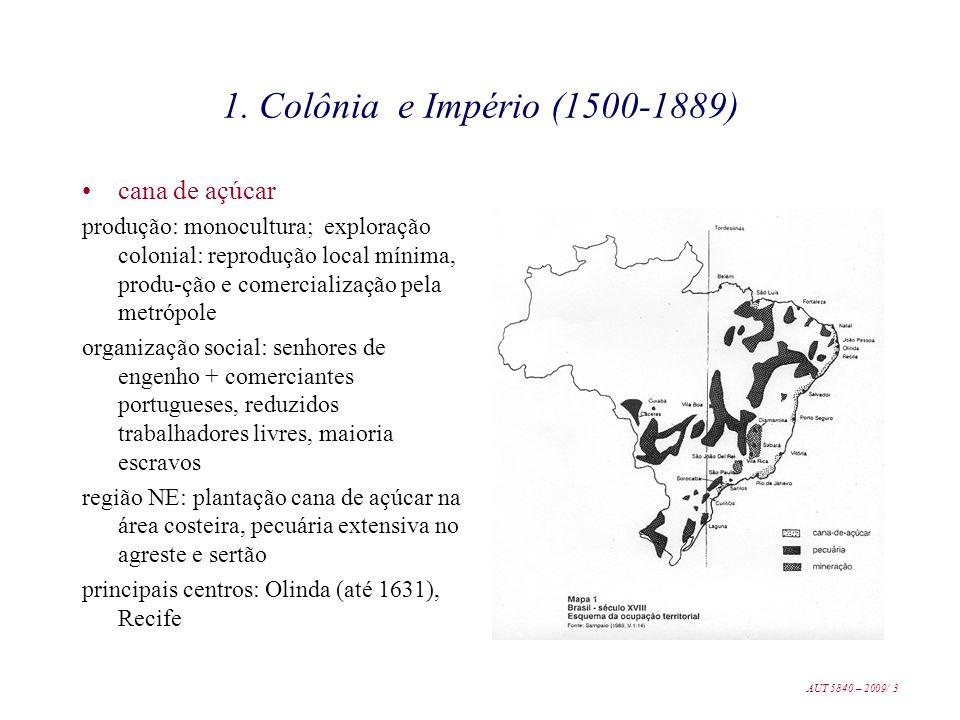 1. Colônia e Império (1500-1889) cana de açúcar