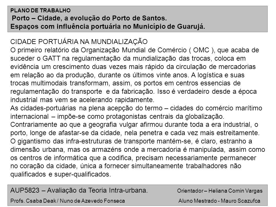 Espaços com influência portuária no Município de Guarujá.