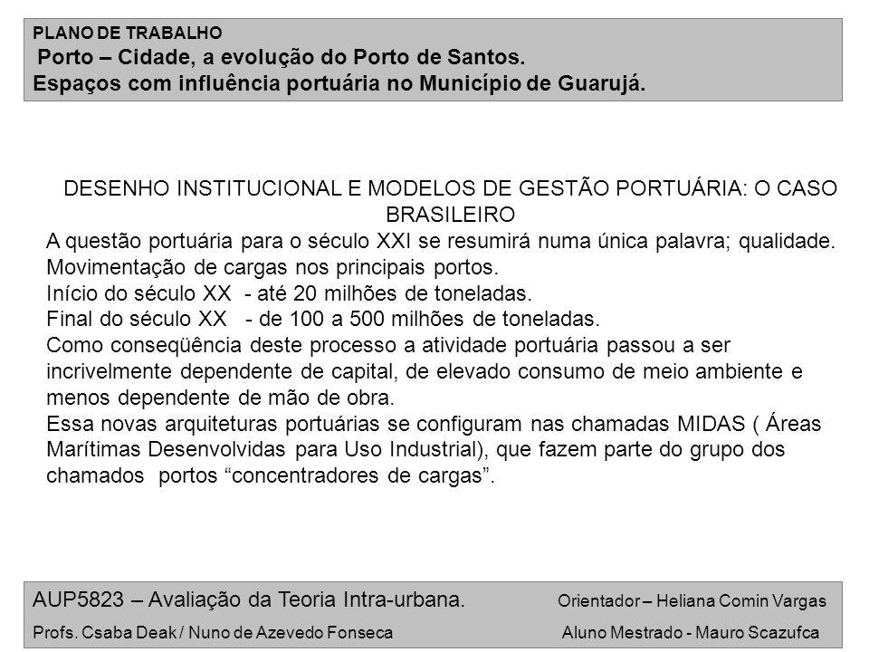 DESENHO INSTITUCIONAL E MODELOS DE GESTÃO PORTUÁRIA: O CASO BRASILEIRO