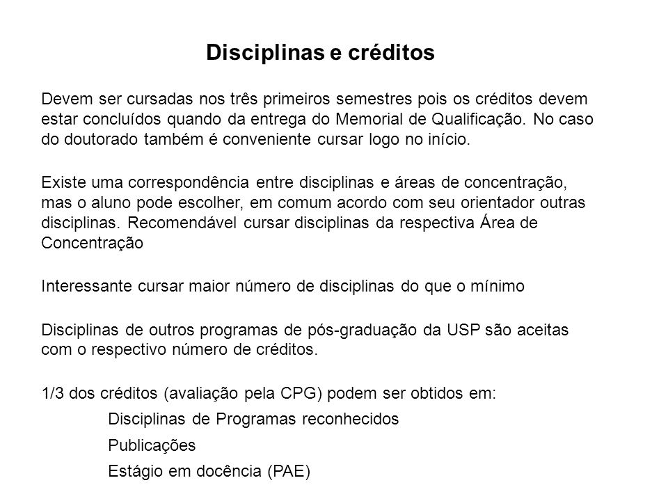 Disciplinas e créditos