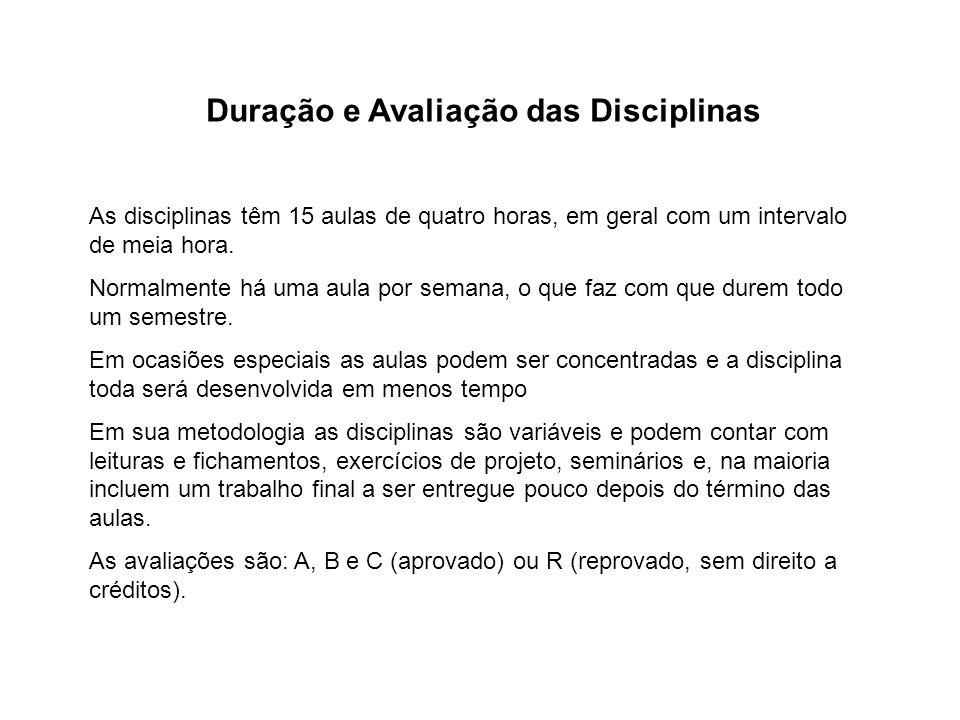 Duração e Avaliação das Disciplinas