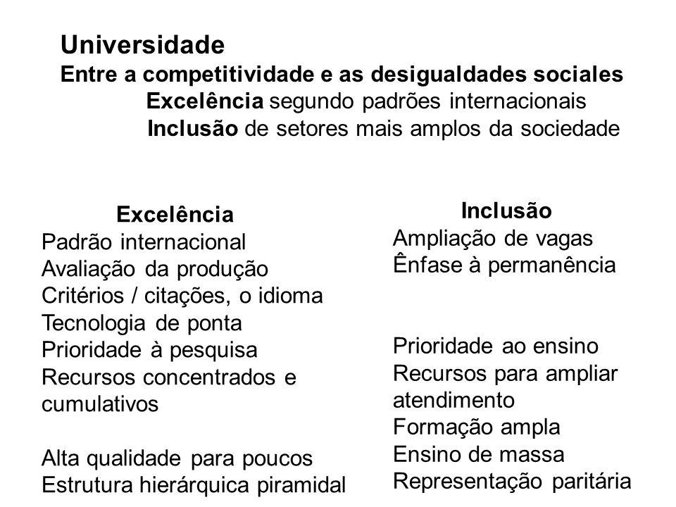 Universidade Entre a competitividade e as desigualdades sociales