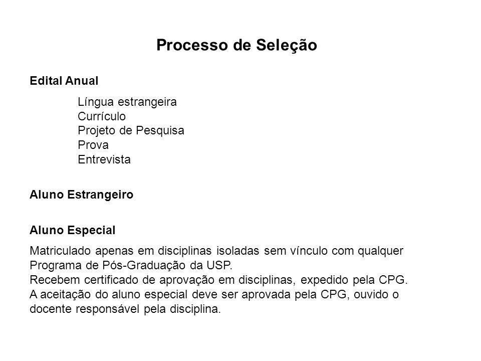 Processo de Seleção Edital Anual Língua estrangeira Currículo