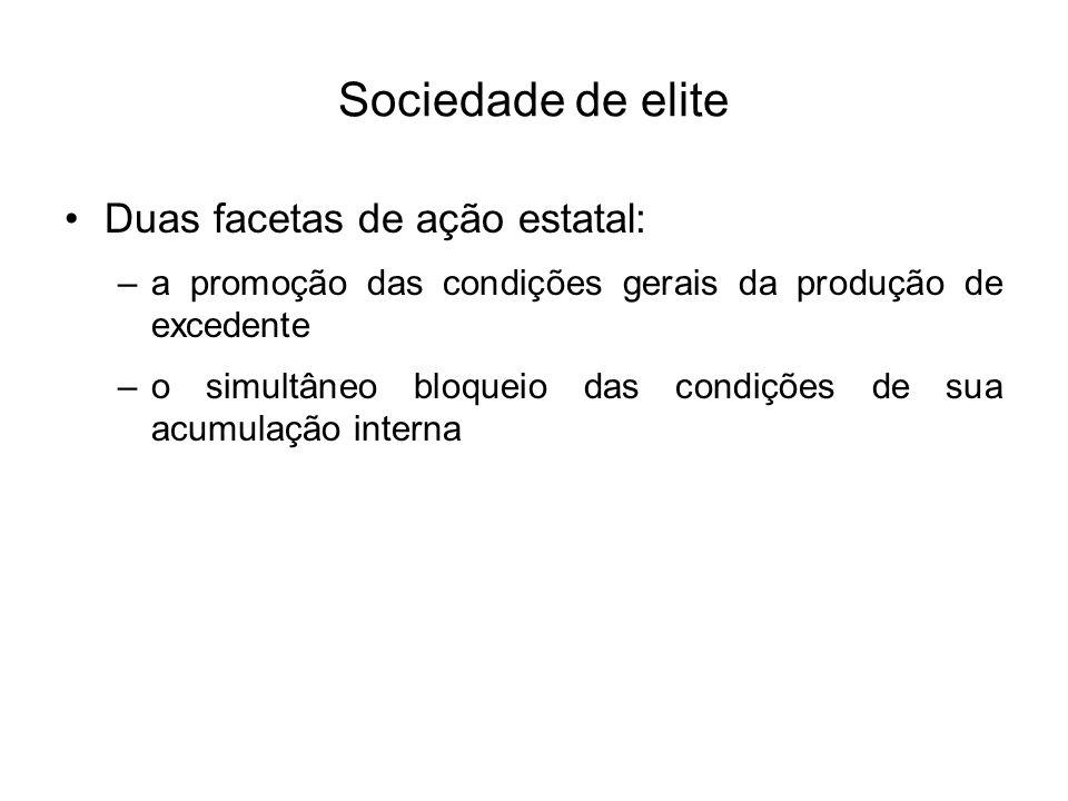 Sociedade de elite Duas facetas de ação estatal: