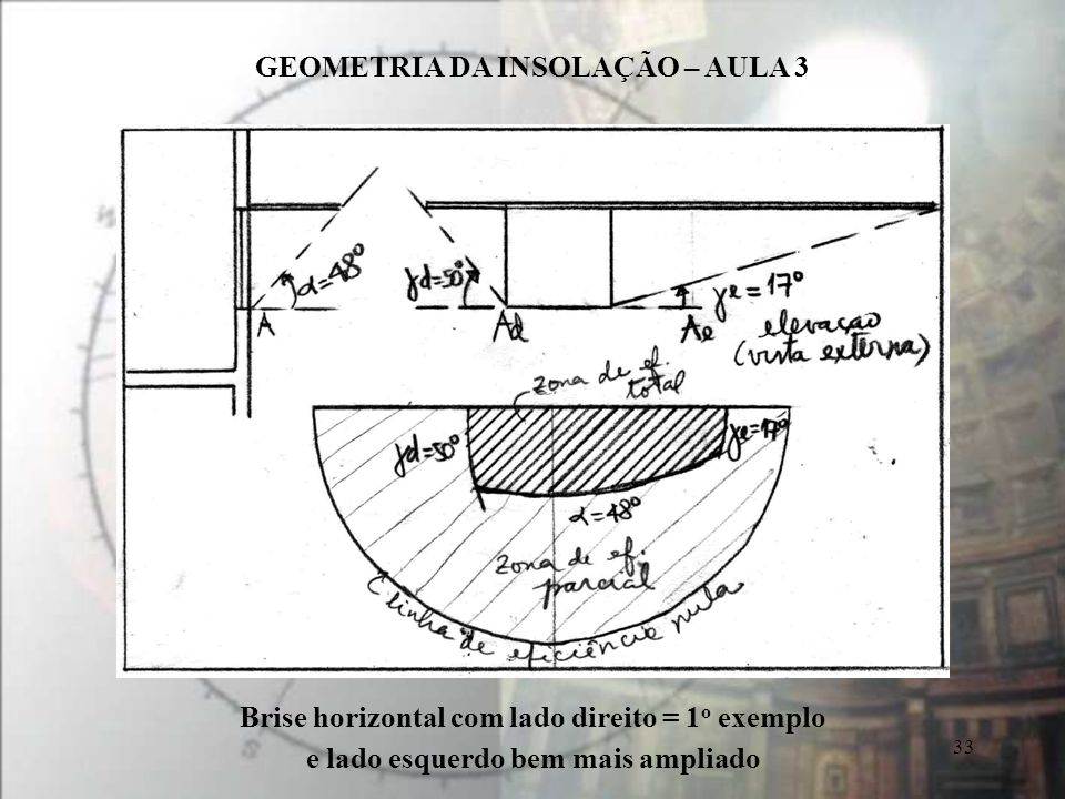 Brise horizontal com lado direito = 1o exemplo