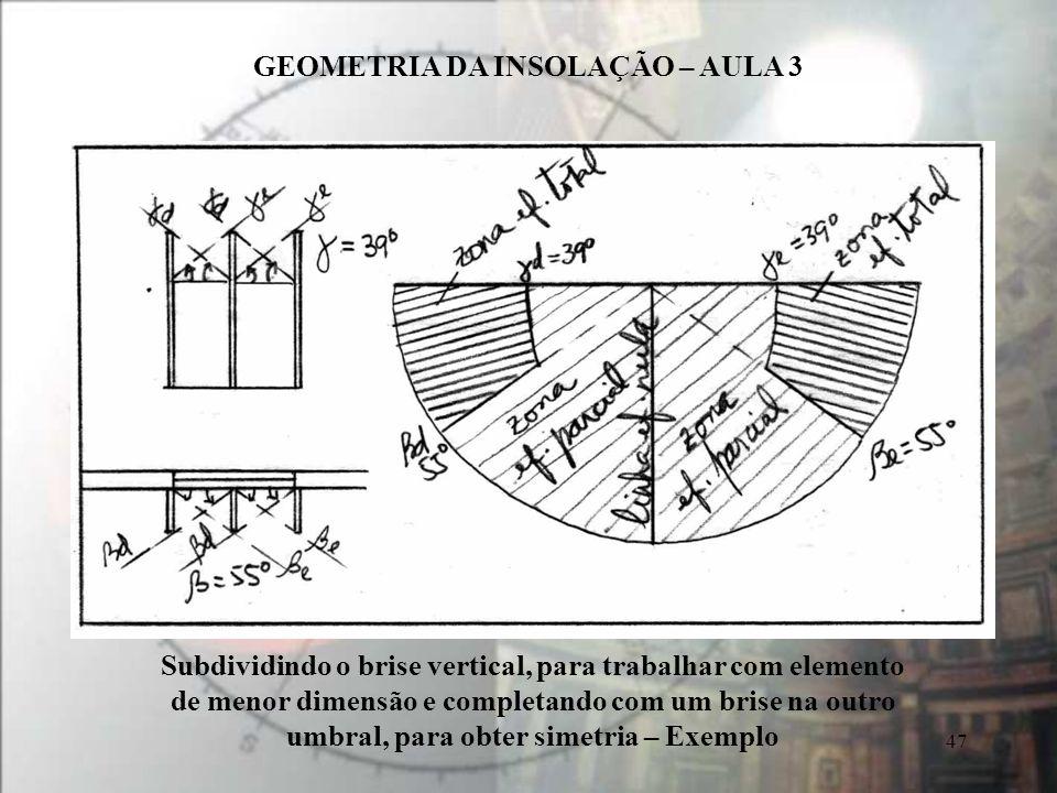 Subdividindo o brise vertical, para trabalhar com elemento de menor dimensão e completando com um brise na outro umbral, para obter simetria – Exemplo