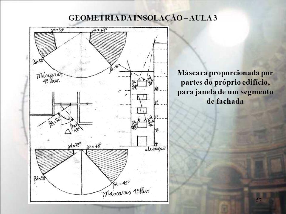 Máscara proporcionada por partes do próprio edifício, para janela de um segmento de fachada