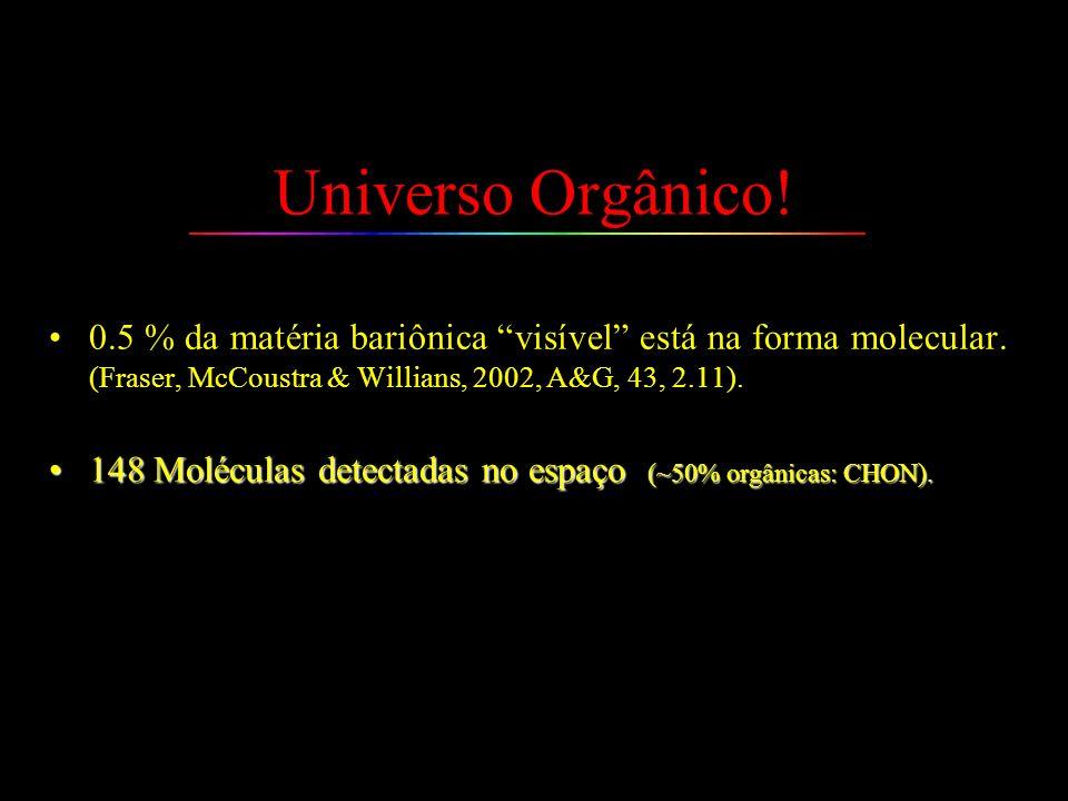 Universo Orgânico! 0.5 % da matéria bariônica visível está na forma molecular. (Fraser, McCoustra & Willians, 2002, A&G, 43, 2.11).