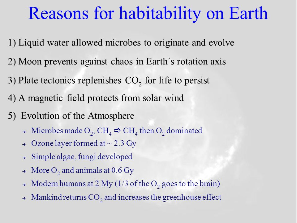 Reasons for habitability on Earth