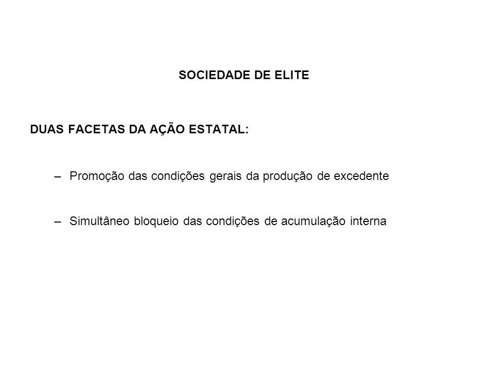 SOCIEDADE DE ELITE DUAS FACETAS DA AÇÃO ESTATAL: Promoção das condições gerais da produção de excedente.