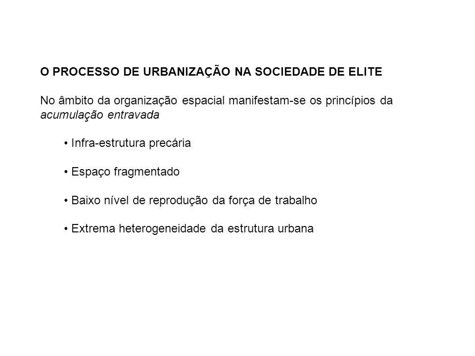 O PROCESSO DE URBANIZAÇÃO NA SOCIEDADE DE ELITE