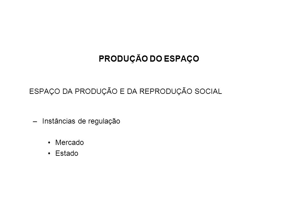 PRODUÇÃO DO ESPAÇO ESPAÇO DA PRODUÇÃO E DA REPRODUÇÃO SOCIAL