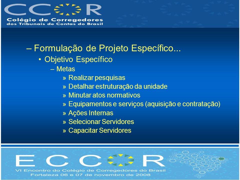 Formulação de Projeto Específico...