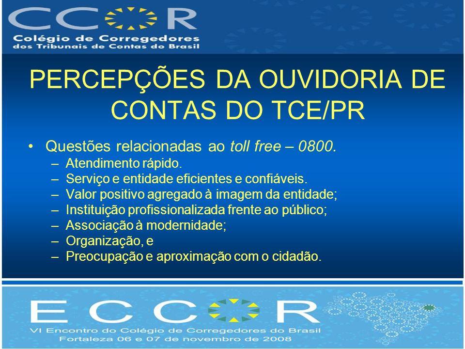 PERCEPÇÕES DA OUVIDORIA DE CONTAS DO TCE/PR