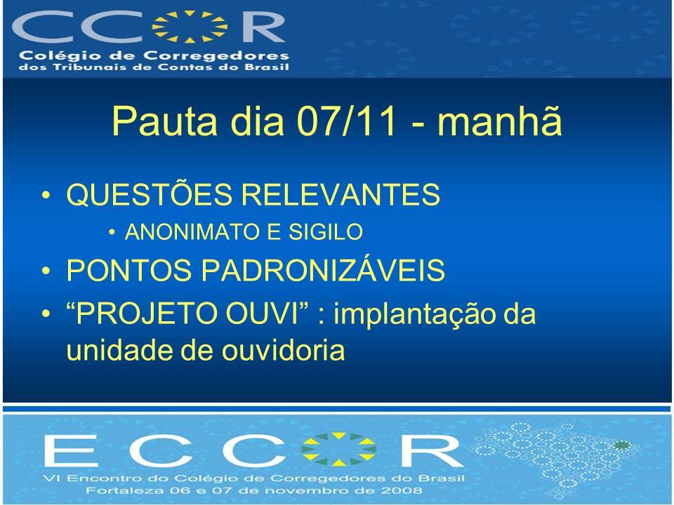 Pauta dia 07/11 - manhã QUESTÕES RELEVANTES PONTOS PADRONIZÁVEIS