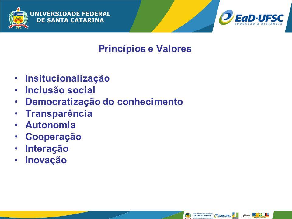 Princípios e Valores Insitucionalização. Inclusão social. Democratização do conhecimento. Transparência.