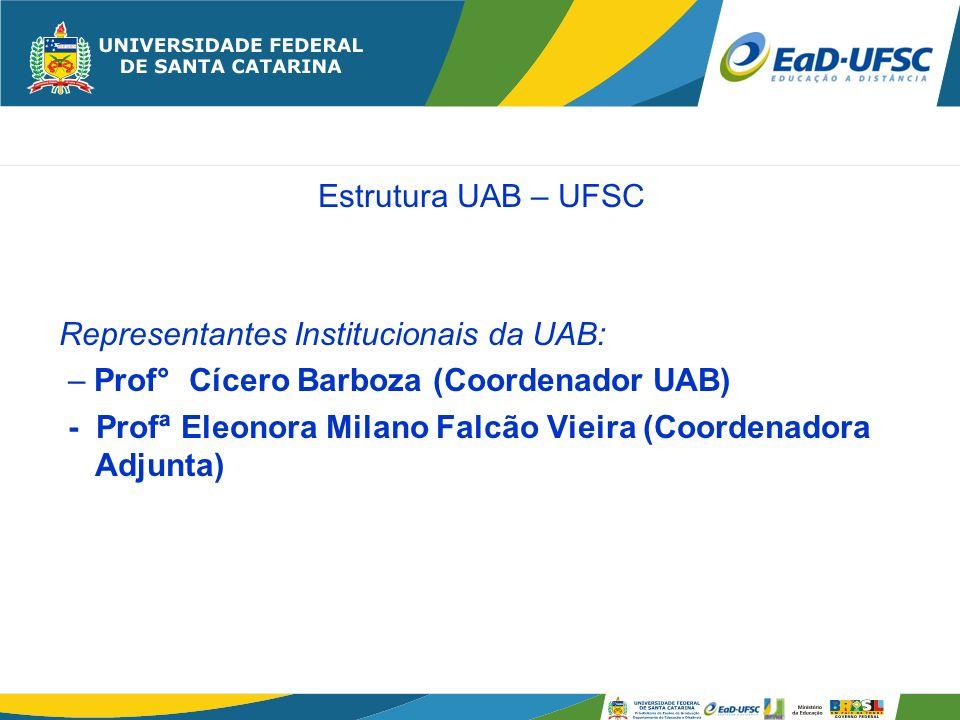 Estrutura UAB – UFSC Representantes Institucionais da UAB: – Prof° Cícero Barboza (Coordenador UAB)