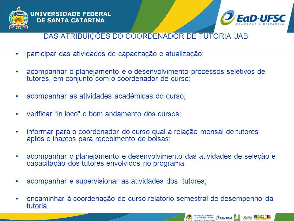 DAS ATRIBUIÇÕES DO COORDENADOR DE TUTORIA UAB