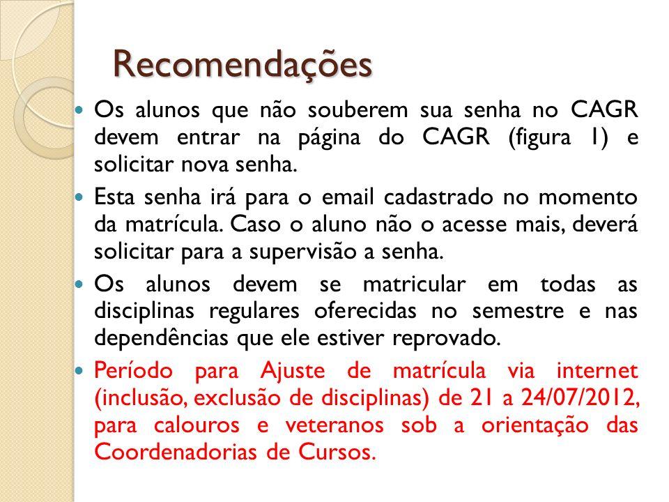 Recomendações Os alunos que não souberem sua senha no CAGR devem entrar na página do CAGR (figura 1) e solicitar nova senha.