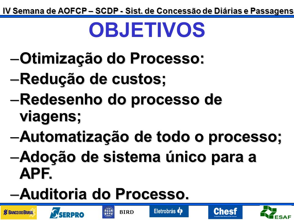 OBJETIVOS Otimização do Processo: Redução de custos;